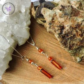 Carnelian Tube Healing Pendant Necklace